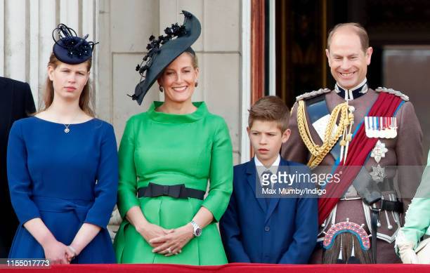 Lady Louise Windsor Sophie Countess of Wessex James Viscount Severn and Prince Edward Earl of Wessex watch a flypast from the balcony of Buckingham...