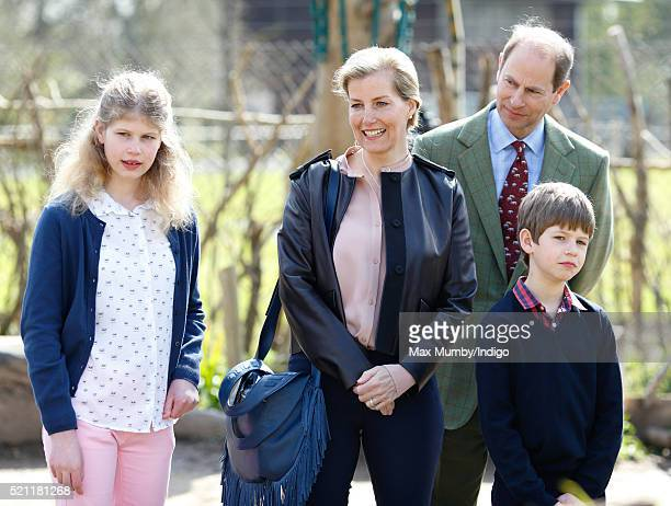 Lady Louise Windsor Sophie Countess of Wessex James Viscount Severn and Prince Edward Earl of Wessex visit the Wild Place Project at Bristol Zoo on...