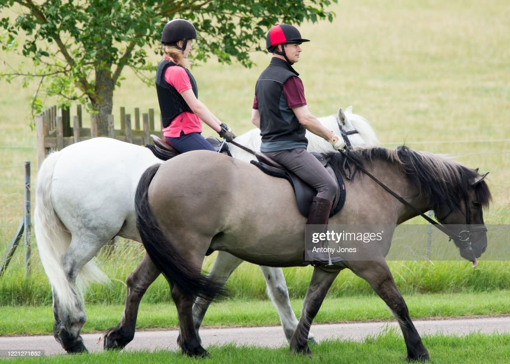 Lady Louise Windsor Joins Prince Edward, Earl of Wessex For A Horse Ride : News Photo