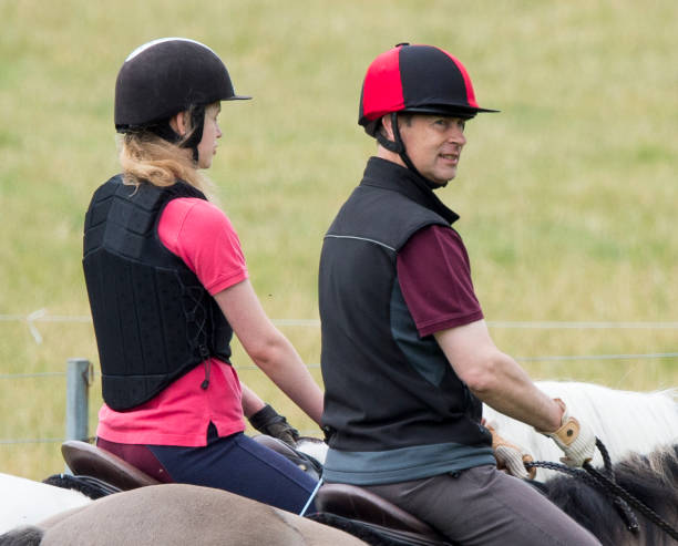 GBR: Lady Louise Windsor Joins Prince Edward, Earl of Wessex For A Horse Ride