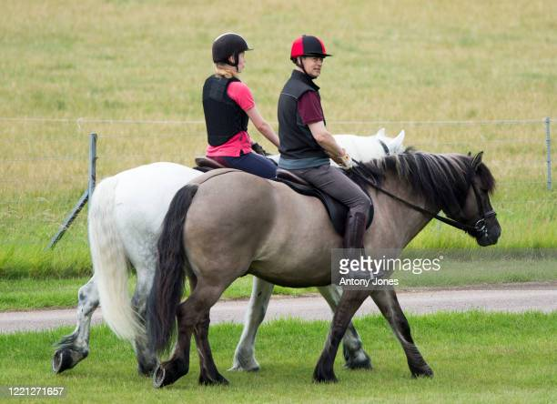 Lady Louise Windsor spotted enjoying an early morning horse ride with her father, Prince Edward, Earl of Wessex, for the first time since lockdown...