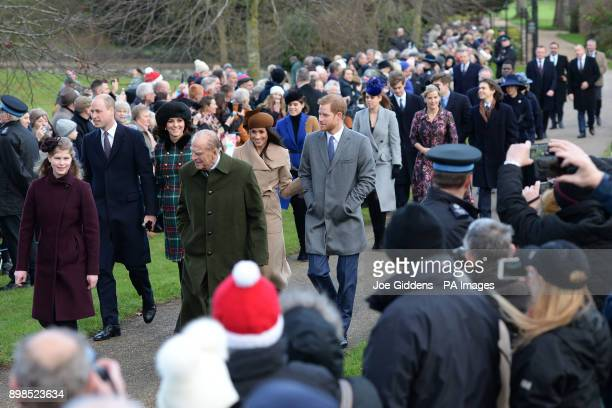 Lady Louise Windsor the Duke of Edinburgh The Duke and Duchess of Cambridge Meghan Markle and Prince Harry arriving to attend the Christmas Day...