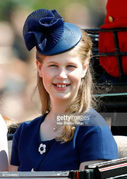 Lady Louise Windsor travels down The Mall in a horse drawn carriage during Trooping The Colour 2018 on June 9 2018 in London England The annual...