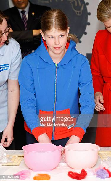 Lady Louise Windsor tries felt making as she accompanies Sophie Countess of Wessex to open the newly refurbished Girlguiding head office on April 16...