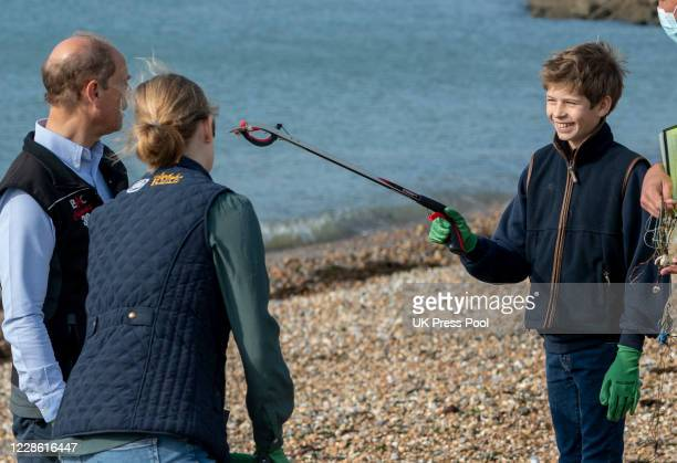 Lady Louise Windsor with James Viscount Severn and Prince Edward Earl of Wessex during a Great British Beach Clean on September 20 2020 in Portsmouth...