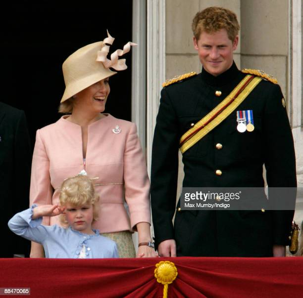 Lady Lousie Windsor appears to salute as HRH Sophie Countess of Wessex and HRH Prince Harry stand on the balcony of Buckingham Palace during the...