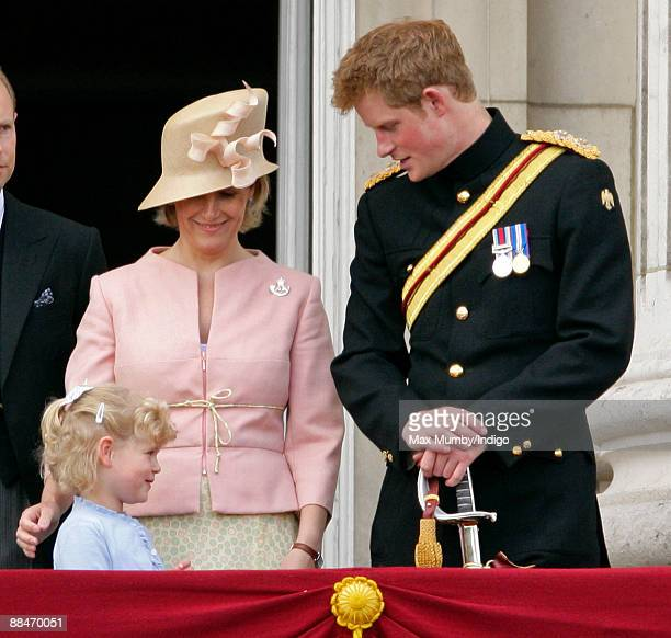 Lady Lousie Windsor HRH Sophie Countess of Wessex and HRH Prince Harry on the balcony of Buckingham Palace during the annual event of the Queens...