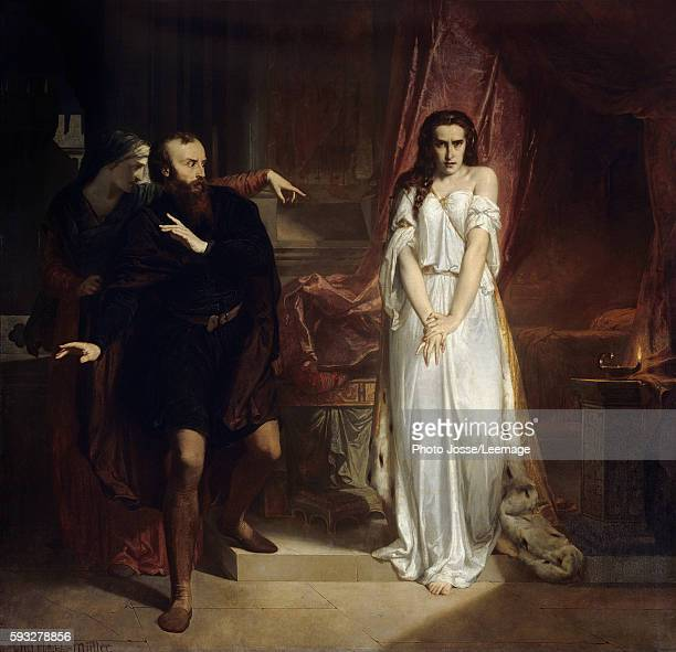 Lady Macbeth Illustration for the play Macbeth of William Shakespeare A woman in a nightgown is humiliated by another one before a frightened man...