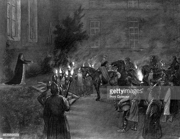 Lady Macbeth welcomes King Duncan at the gates of Macbeth's castle 1909 A scene from Shakespeare's play A print from L'Illustration 4 September 1909