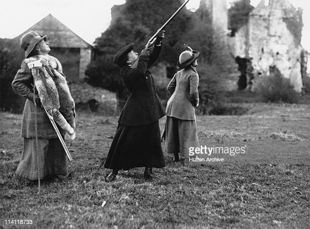 Lady MacCalmont attends a pheasant shoot in Mount Juliet, Kilkenny, Ireland, November 1910.