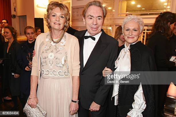 Lady Madeleine Lloyd Webber Lord Andrew Lloyd Webber and Glenn Close attend a cocktail reception at The 62nd London Evening Standard Theatre Awards...