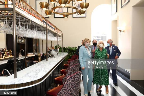 Lady Madeleine Lloyd Webber, Lord Andrew Lloyd Webber, Camilla, Duchess of Cornwall and Prince Charles, Prince of Wales during a visit to Theatre...