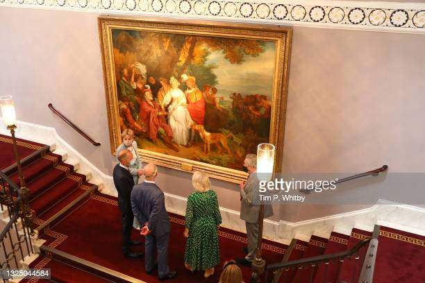 Lady Madeleine Lloyd Webber, Prince Charles, Prince of Wales, Camilla, Duchess of Cornwall and Lord Andrew Lloyd Webber during a visit to Theatre...