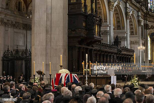 Lady Margaret Thatcher's coffin draped in the Union flag during the Ceremonial funeral of former British Prime Minister Baroness Thatcher at St...