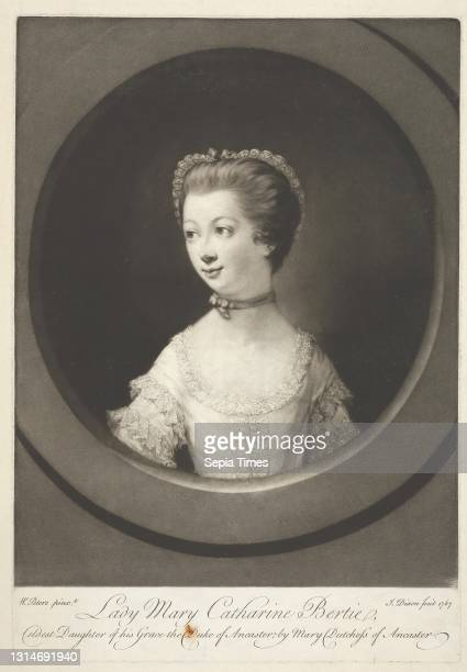 Lady Mary Catharine Bertie, Print made by John Dixon, ca. 1740–1811, Irish, after Matthew William Peters, 1742–1814, British Mezzotint on moderately...