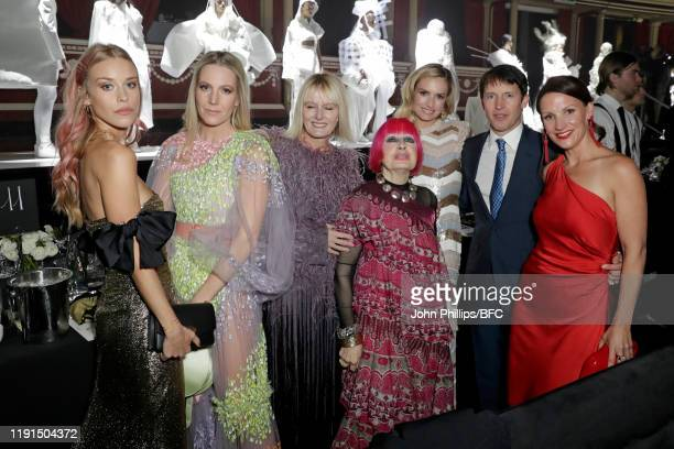 Lady Mary Charteris Alice NaylorLeyland Zandra Rhodes Lady Sofia Wellesley and James Blunt attend the VIP dinner at The Fashion Awards 2019 held at...