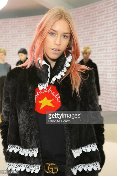Lady Mary Charteris attends the Teatum Jones show during London Fashion Week February 2018 at BFC Show Space on February 20, 2018 in London, England.
