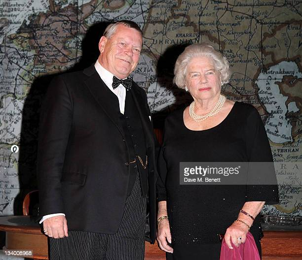 Lady Mary Soames daughter of former British Prime Minister Sir Winston Churchill poses onstage with cast member Warren Clarke who plays her father...