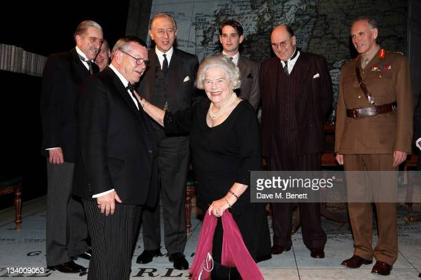 Lady Mary Soames daughter of former British Prime Minister Sir Winston Churchill speaks with actor Warren Clarke who plays her father onstage after a...