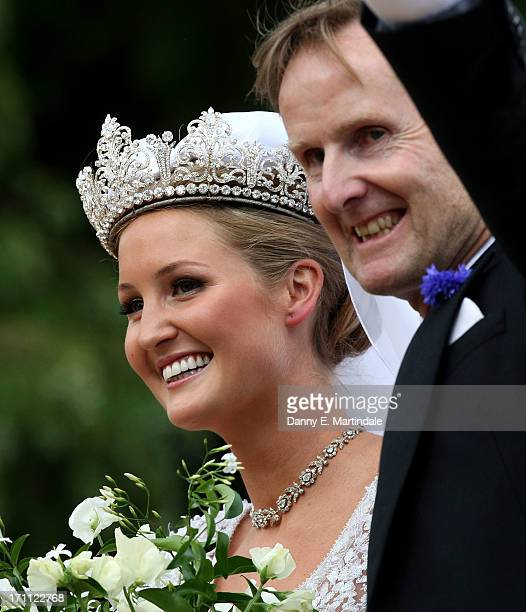 Lady Melissa Percy arrives to her wedding to Thomas van Straubenzee at Alnwick Castle on June 22 2013 in Alnwick England