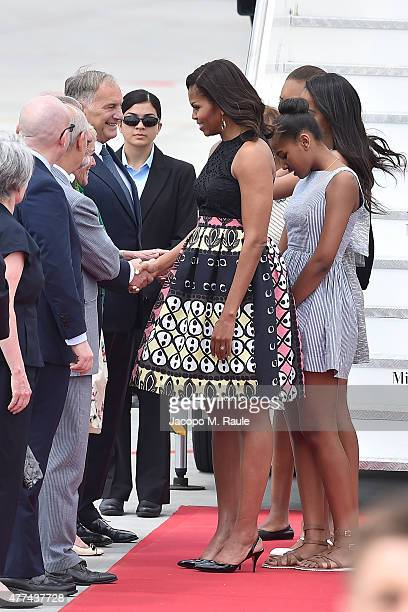 Lady Michelle Obama arrives with daughters Malia Obama and Sasha Obama at Malpensa Airport on June 17 2015 in Milan Italy