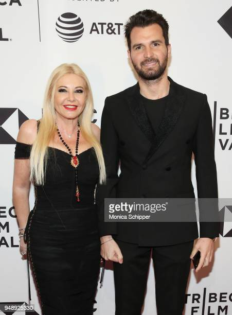 Lady Monika Bacardi and Andrea Iervolino attend the BLUE NIGHT Tribeca Film Festival Red Carpet Arrivals at SVA Theater on April 19 2018 in New York...