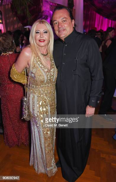 Lady Monika Bacardi and Gilles Mansard attend Lisa Tchenguiz's birthday party on January 20 2018 in London England