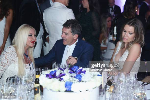Lady Monika Bacardi Antonio Banderas and Nicole Kempel attend the Closing Night Gala at Cinecittà as part of the 2017 Celebrity Fight Night in Italy...