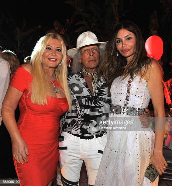 Lady Monika Bacardi James Goldstein and Lola Tyliav Karimova attend the Monika Bacardi Summer Dinner on July 27 2016 in SaintTropez France