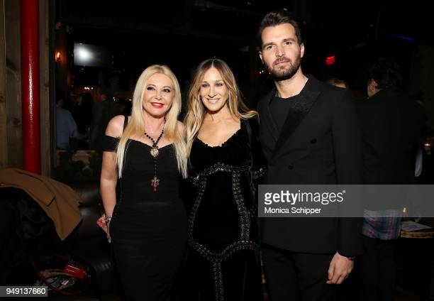 Lady Monika Bacardi Sarah Jessica Parker and Andrea Iervolino attend the Ambi Gala Tribeca party for 'Blue Night' at The Ainsworth on April 19 2018...