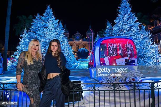 Lady Monika Del Campo Bacardi of Bayfield Hall and her daughter Maria Luisa pose at Monte Carlo Casino square as they are going to attend the Monaco...