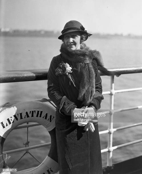 Lady Nancy Astor, American-born British politician, the first woman to sit in Great Britain's House of Commons, standing on the deck of the ocean...