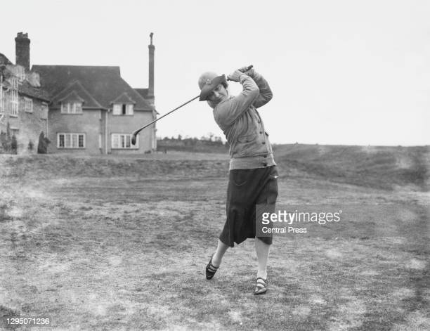 Lady Nancy Astor MP drives off the 1st tee circa May 1927 at the Royal St George's Golf Club in Sandwich, Kent, United Kingdom. Nancy Astor became...