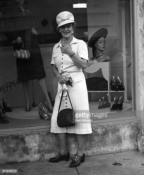 Lady Nancy Astor standing in front of a shop in Palm Beach, Florida, 1945