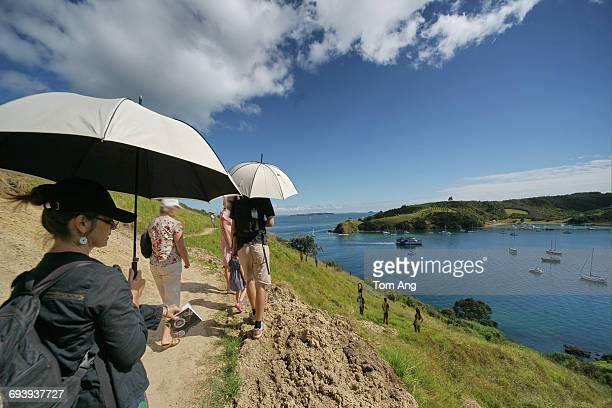 Lady nearing retirement age enjoying sunny walk
