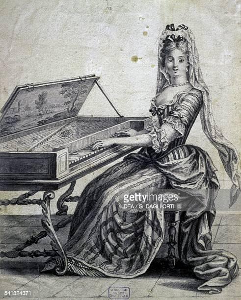 Lady of Louis XVI court playing the spinet ca 1690 by Nicolas Arnoult France 17th century Rouen Bibliotheque Municipale De Rouen Cabinet D'Estampes