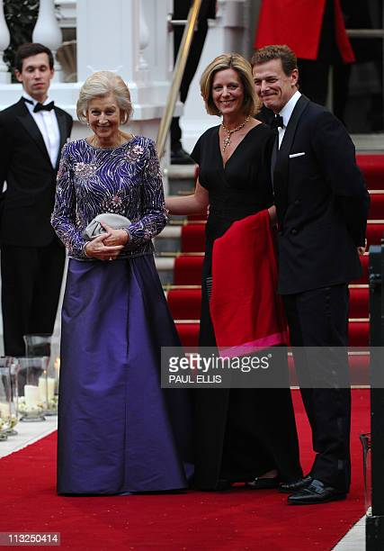 Lady Ogilvy arrives with James and Marina Ogilvy at the Mandarin Oriental hotel for a gala dinner hosted by Britain's Queen Elizabeth II on April 28...