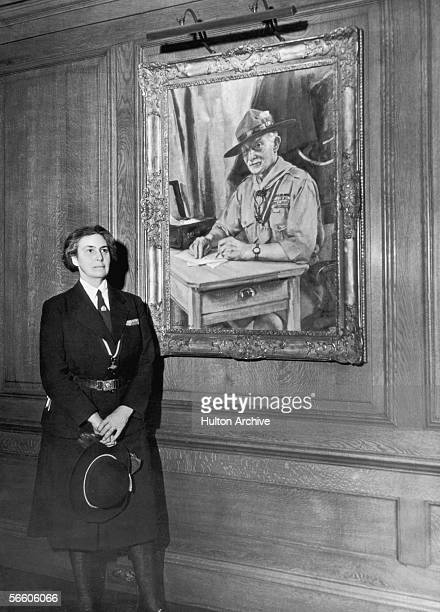 Lady Olave BadenPowell the wife of Boer War hero Robert BadenPowell with a painting of her famous husband circa 1945