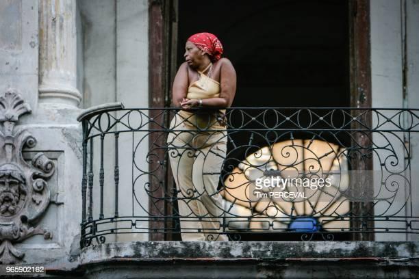 Lady on Balcony Havana