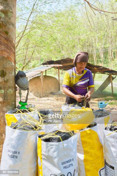 A lady packs charcoal
