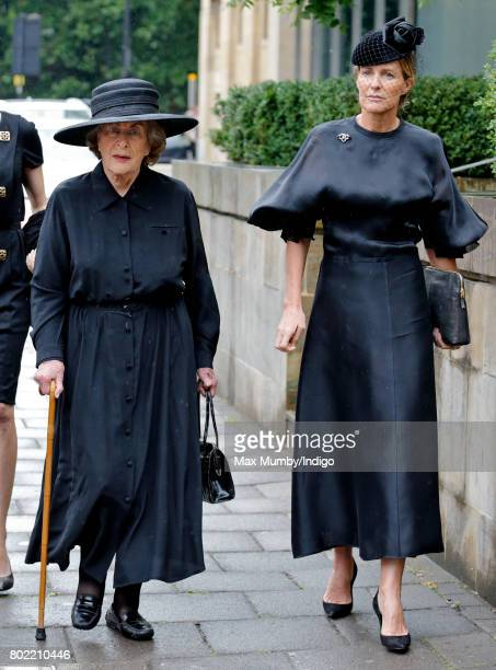 Lady Pamela Hicks and India Hicks attend the funeral of Patricia Knatchbull Countess Mountbatten of Burma at St Paul's Church Knightsbridge on June...