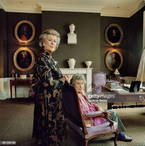 Lady Pamela Hicks and Patricia Knatchbull Countess Mountbatten of Burma are photographed for Vanity Fair Magazine on February 4 2013 in London United...