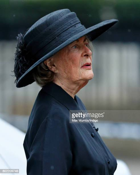 Lady Pamela Hicks attends the funeral of Patricia Knatchbull Countess Mountbatten of Burma at St Paul's Church Knightsbridge on June 27 2017 in...