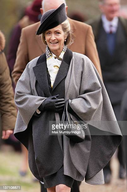 Lady Penny Brabourne accompanies Queen Elizabeth II and Prince Philip Duke of Edinburgh as they attend Sunday service at the church of St Mary in...