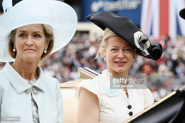 Lady Penny Brabourne and Lady Helen Taylor attend day one of Royal Ascot at Ascot Racecourse on June 18 2013 in Ascot England