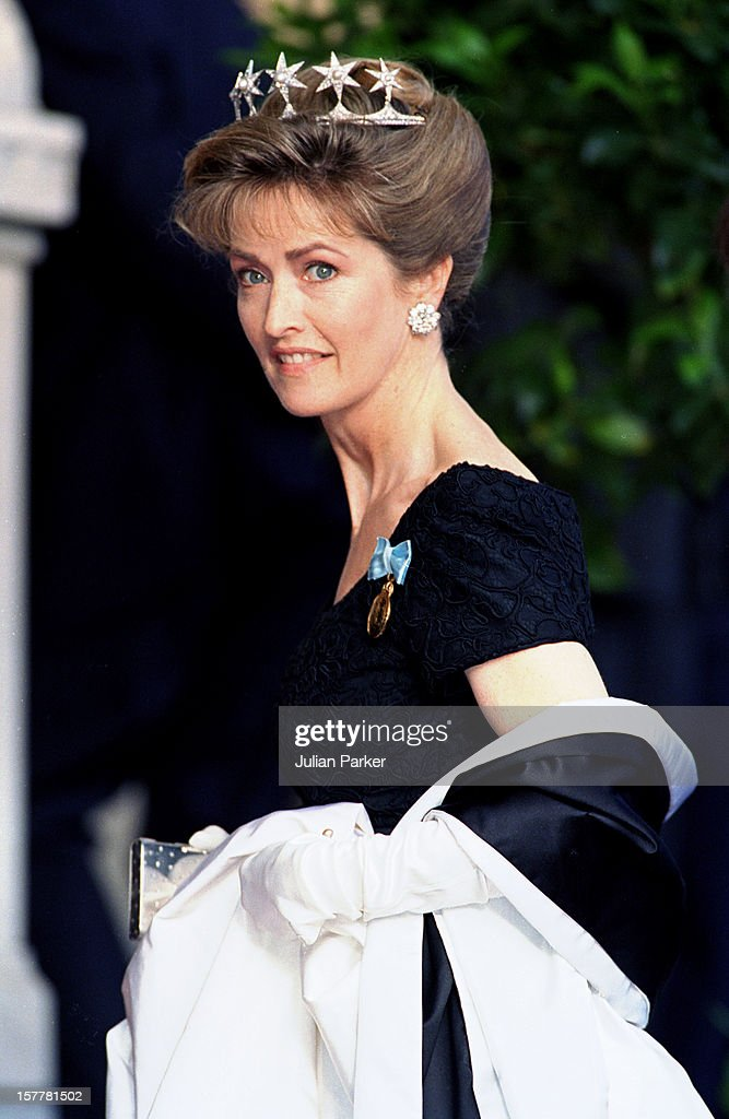 Lady Penny Romsey Attends A Performance Of The Dramatic Theatre, During The Celebration For King Carl Gustav Of Sweden'S 50Th Birthday.