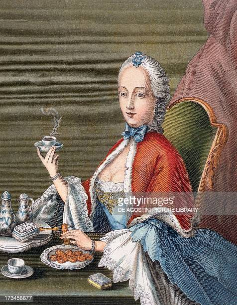 Lady pouring coffee 17001740 Engraving Germany 18th century Paris Bibliothèque Des Arts Decoratifs
