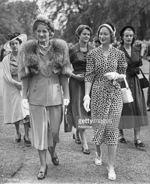 Lady Provost of Edinburgh Miss Rodney Murray and Princess JosephineCharlotte of Belgium followed by Princess Maria Pia of BourbonParma attend the...