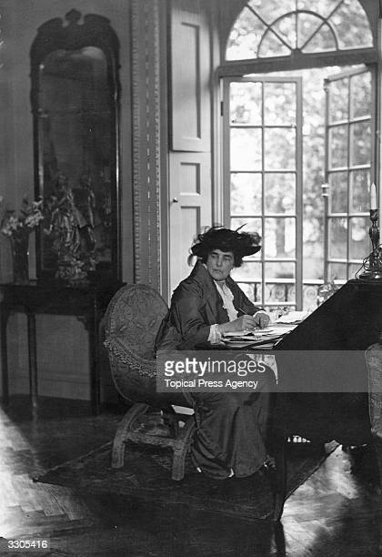 Lady Randolph Churchill at her residence in Brook Street