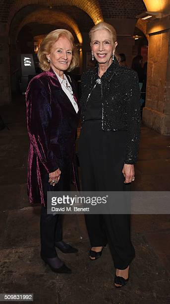 "Lady Rhona Delves Broughton and Lady Colin Campbell attend the press night after party of ""Nell Gwynn"" at The Crypt St Martins on February 12, 2016..."
